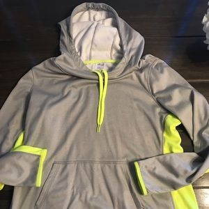 Danskin Now Women's Grey/Fluorescent Yellow Hoodie